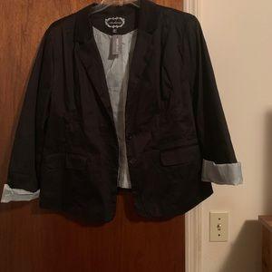 A rolled cuff Black Blazer